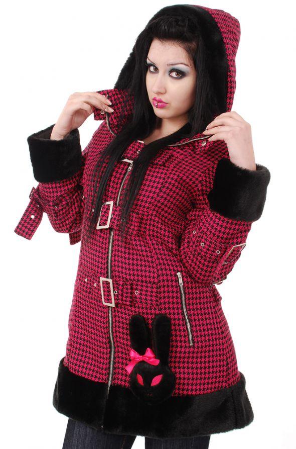 HELL BUNNY ciepły płaszcz w różową pepitkę M L