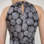 Czarno biała sukienka zapinana na szyi TANIO