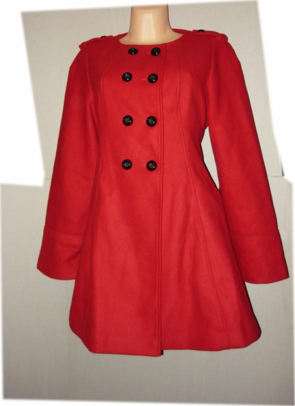 F&F płaszcz czerwień zima piękny 44 46