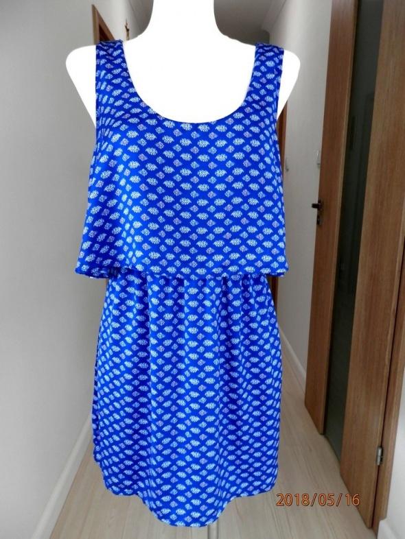 Sukienka Zara Lft Chabrowa Biały Nadruk Nowa z Metkami L