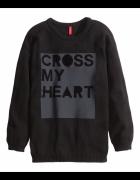 Czarna sukienka sweterek z nadrukiem H&M oversize...