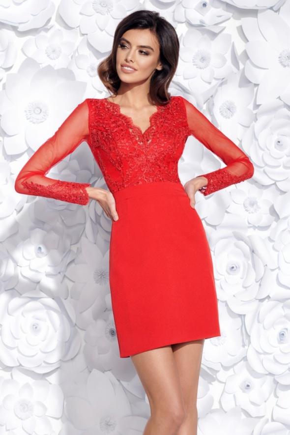 501a38df99 Ołówkowa czerwona sukienka długi rękaw w Suknie i sukienki - Szafa.pl