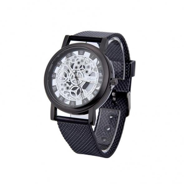 Zegarek damski czarny szkieleton modny