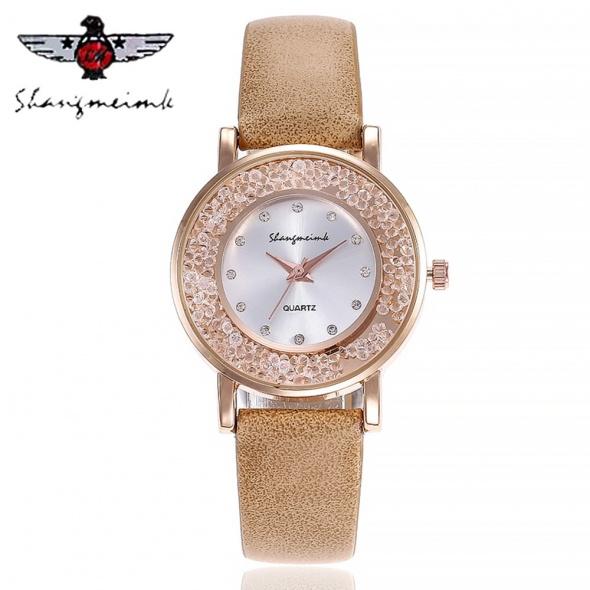 Zegarek damski cyrkonie beżowy złoty skórzany