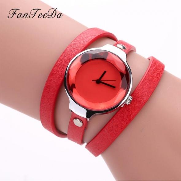 Zegarek damski owijany czerwony