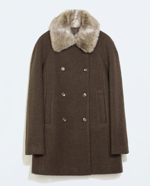 Wełniany płaszcz Zara z futerkiem na kołnierzu rozmiar XL