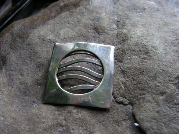 Geometryczna masywna zawieszka srebro
