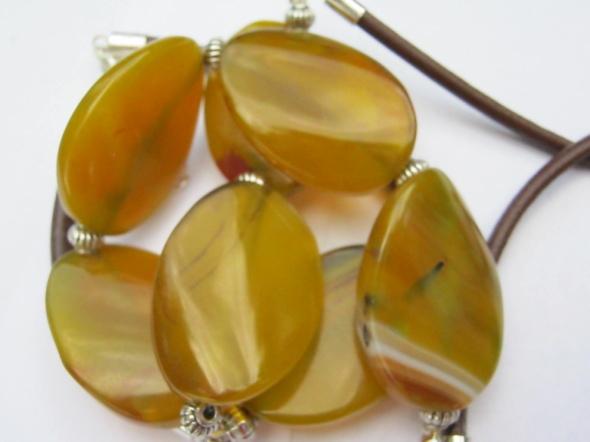 Piękne żółte agaty naszyjnik i bransoletka