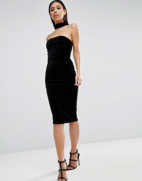 Asos midi czarna sukienka choker ołówkowa aksamit