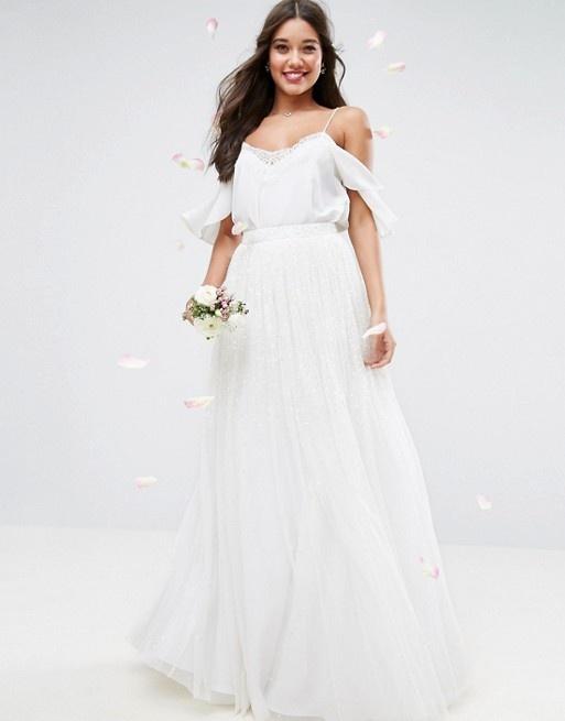 Asos bridal maxi biała tiulowa zdobiona spódnica ślub