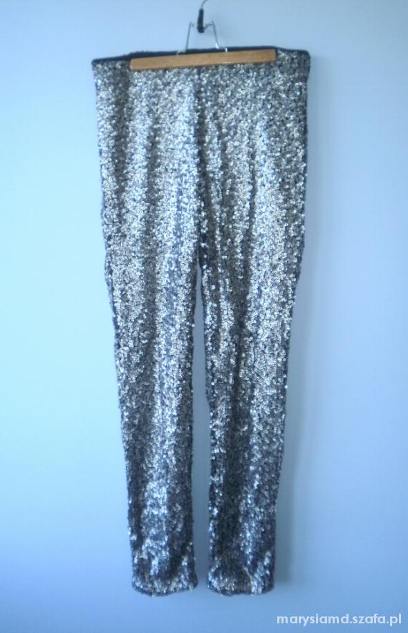 HM nowe cekinowe srebrne spodnie cekiny legginsy