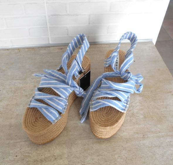 Zara nowe sandały wiązane na platformie espadryle