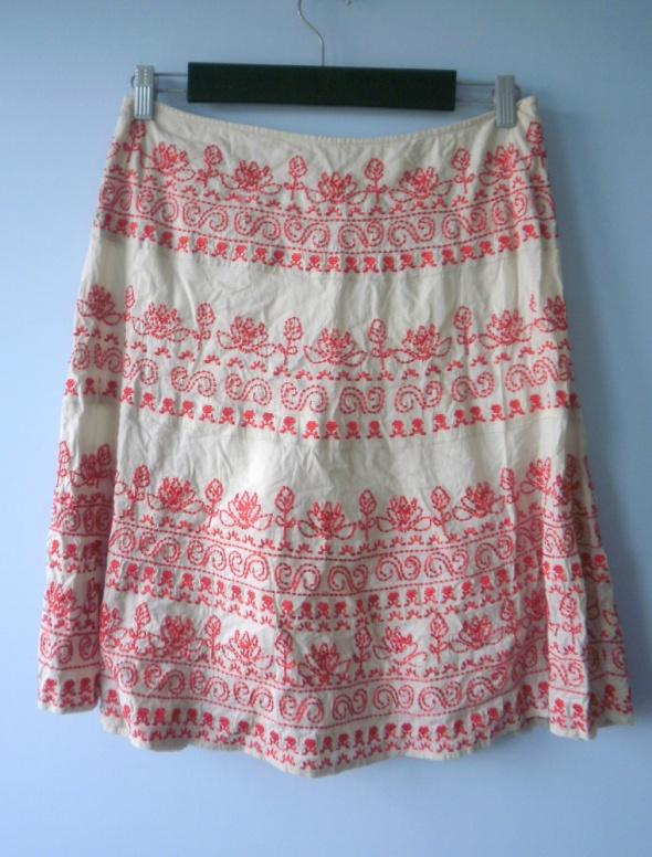 Monsoon spódnica midi hafty folk rozkloszowana