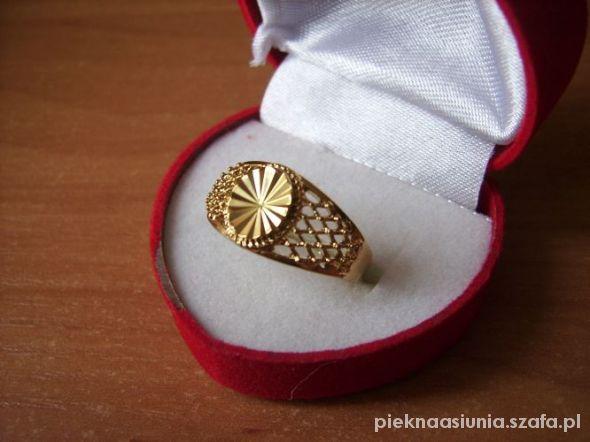 18kt ażurkowy pierścionek duży rozmiar