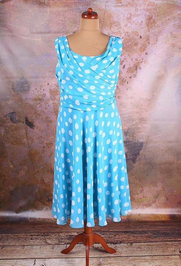 d338ebbcb4 SUKIENKA TURKUSOWA W GROCHY VINTAGE RETRO 46 48 w Suknie i sukienki ...