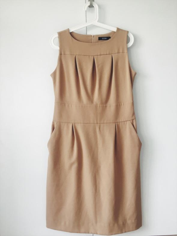 ECHO karmelowa beżowa prosta sukienka tuba 40 42...