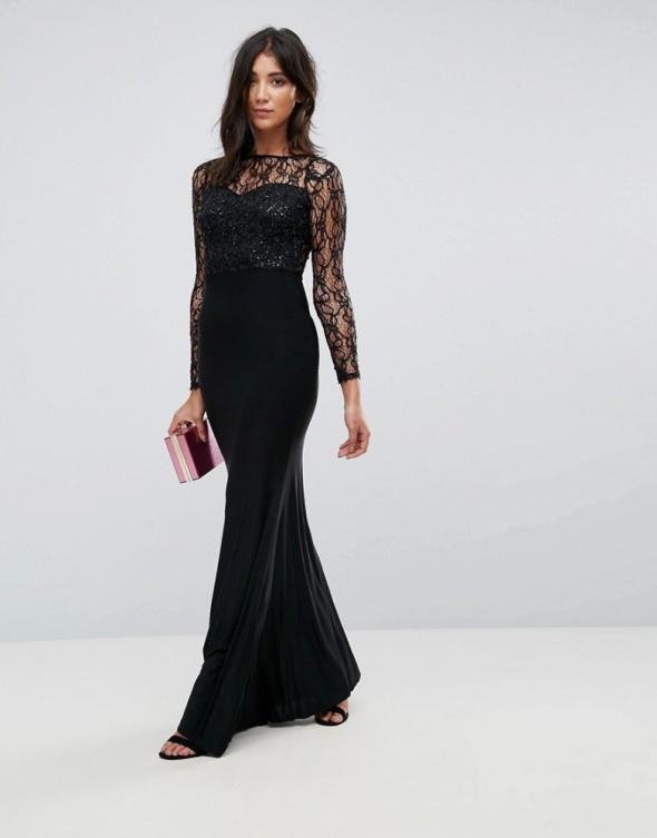 Czarna sukienka maxi koronkowa długi rękaw 38...