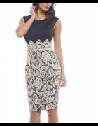 Granatowa ołówkowa sukienka midi z beżową spódnicą...