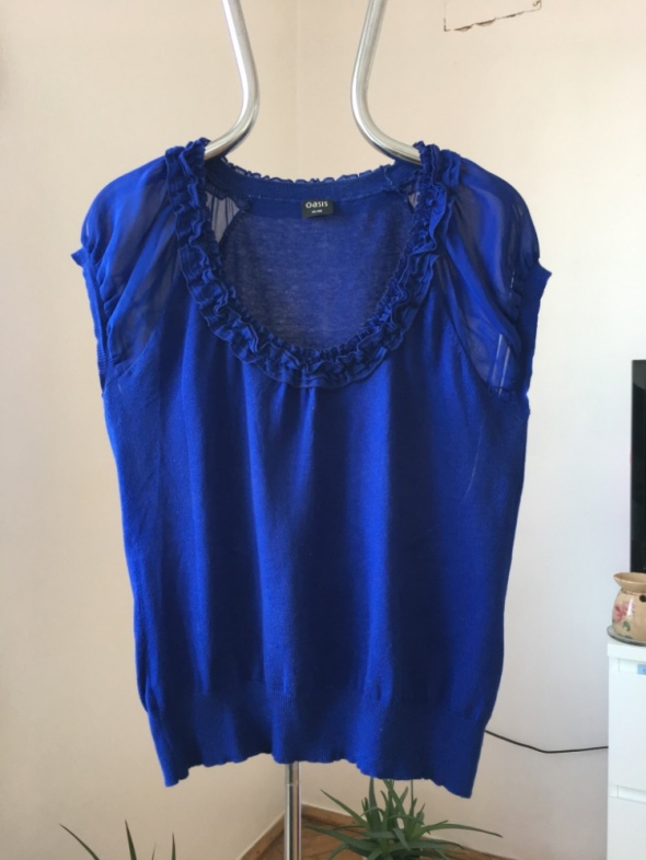 Modrakowa bluzka dzianinowa z krótkim rekawkiem 40...