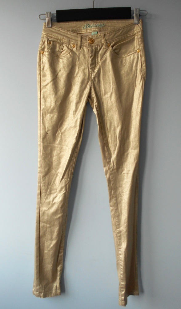 Denim Co nowe jeansy złote gold metallic...