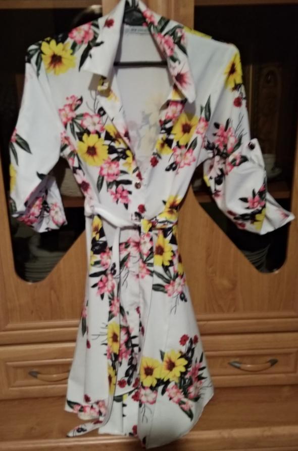 Tunika koszula sukienka w kwiaty