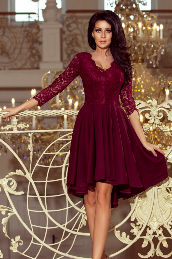 6a2431a47e Suknie i sukienki NICOLLE sukienka asymetryczna koronka BORDOWA XL XXL