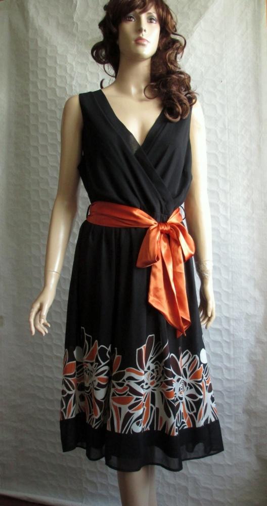 Debenhams czarna sukienka kwiaty retro pasek 44...