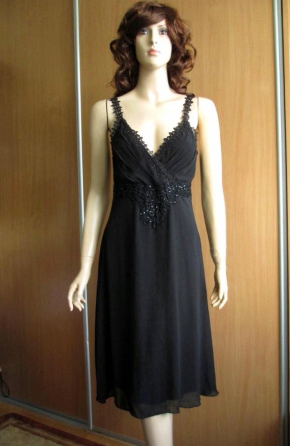VILA czarna letnia sukienka ażurowe ramiączka 38
