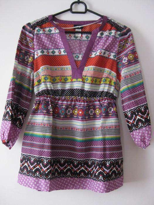 H&M bluzka etno hippie boho folk wzorki 36