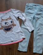 komplet 110 spodnie rurki bluzka z sową...