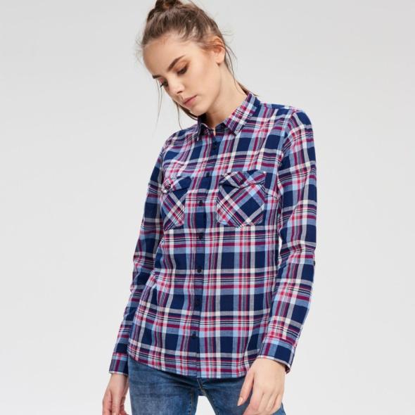 Super koszula w kratę niebieska marki CROPP TOWN...