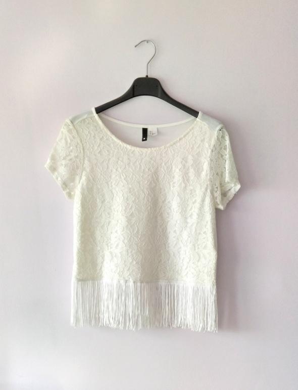 H&M bluzka koronka frędzle biała ecru S 34 36