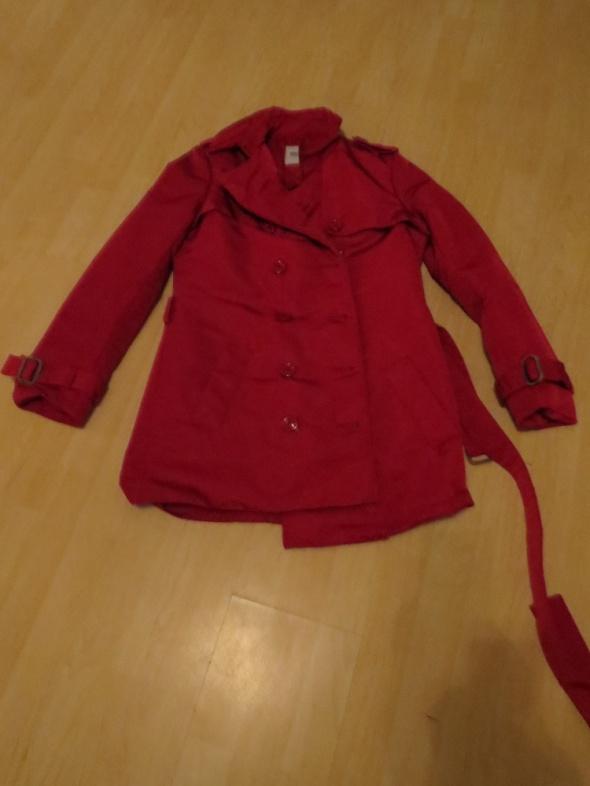 czerwony bordowy płaszcz materiałowy długa kurtka...