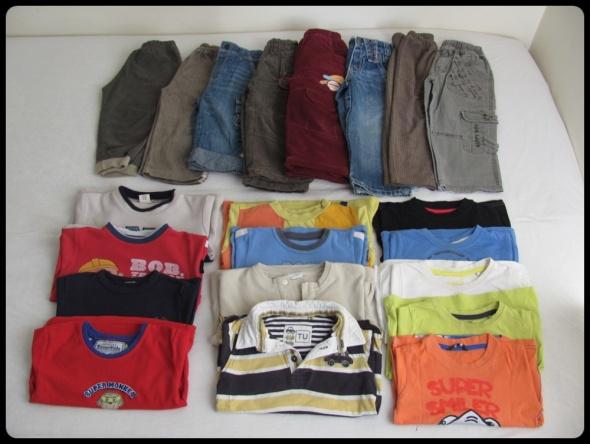 Zestaw ubranek chłopięcych rozmiar 92 98 spodnie bluzki 21 sztu...