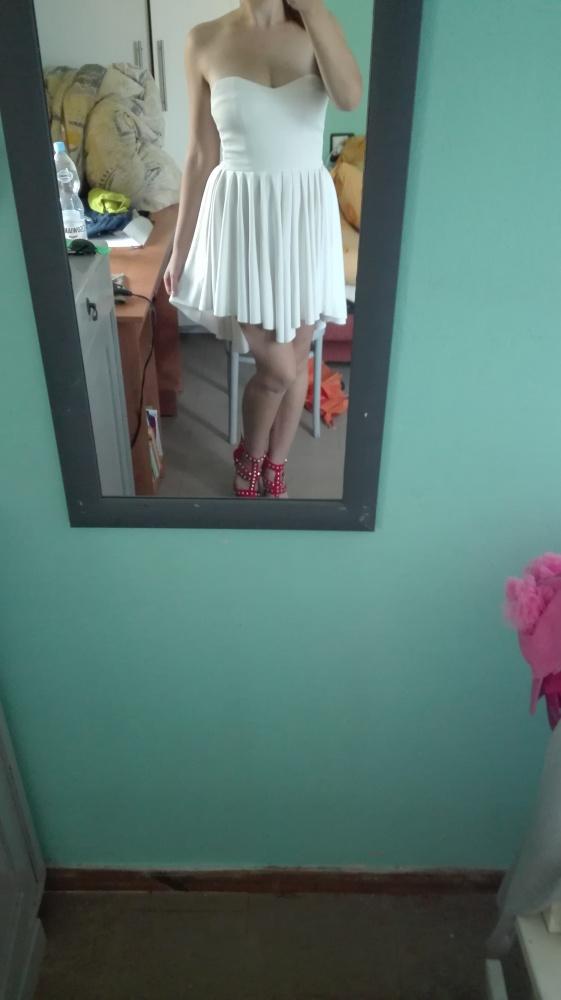 Biała asymetryczna sukienka dłuższy tył M