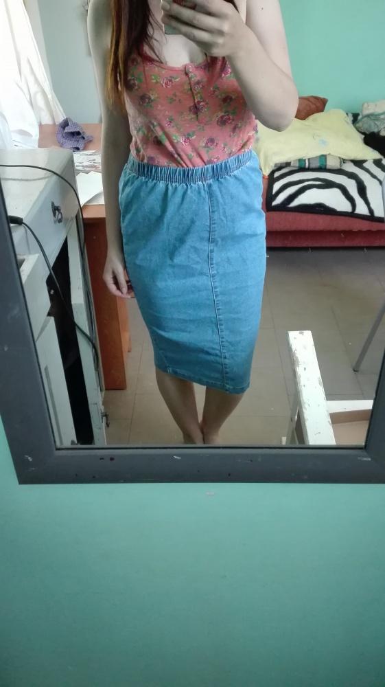 Ołówkowa jeansowa spódnica wysoki stan XL