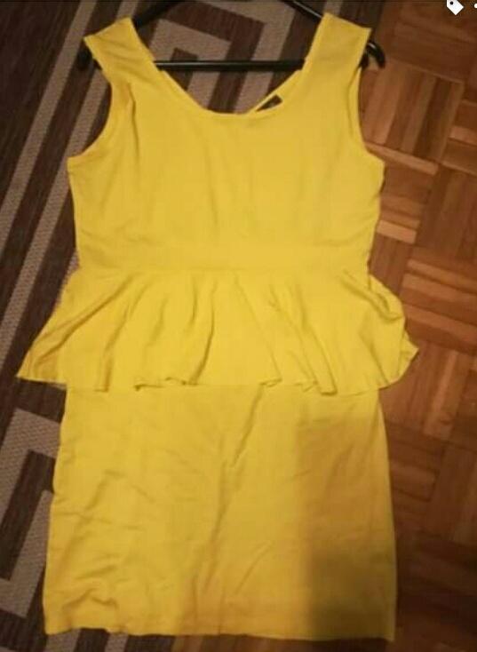 Żółta sukienka z baskinka L XL