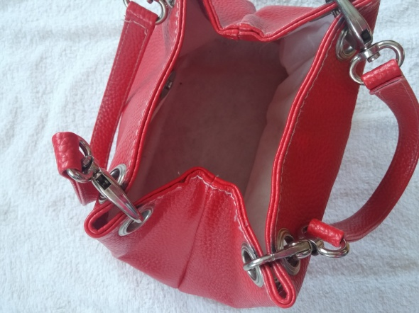 torebka skóra eko czerwona mała do ręki