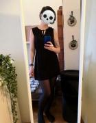 Letnia mała czarna sukienka H&M mini wiązana strapsy biurowa be...