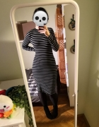 Czarna swetrowa ciepła sukienka w paski H&M basic minimalizm bl...