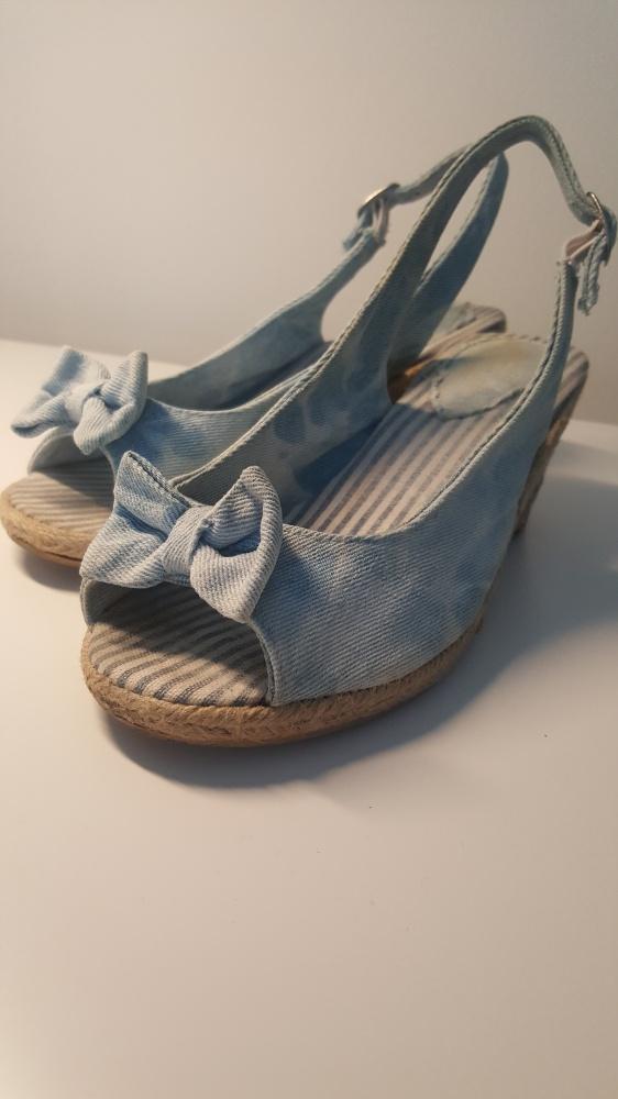 jeansowe espadryle na koturnie sandały...
