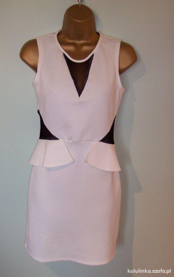 Hit biała sukienka z siateczką i baskinką tiul S