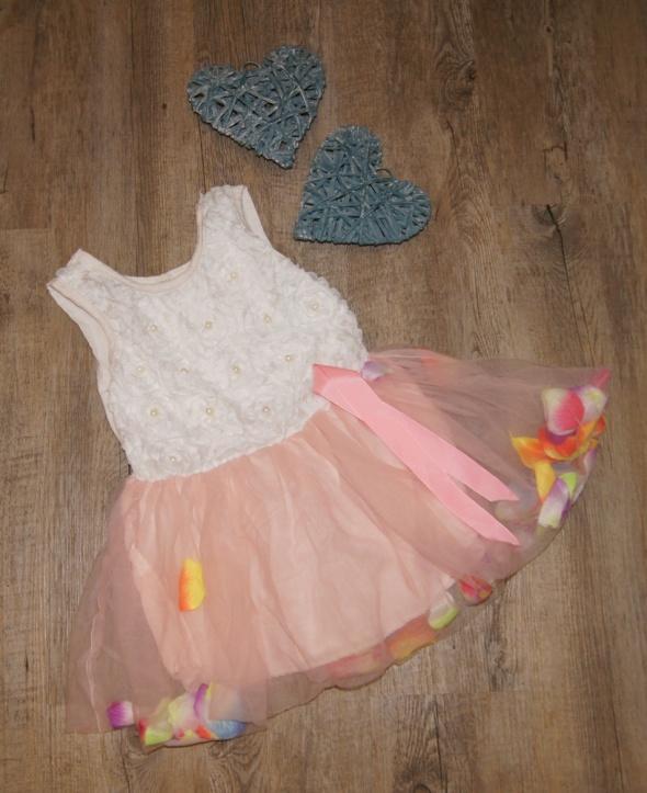 Sukienka dziewczynka tiul płatki kwiatów rozm 86 do 92