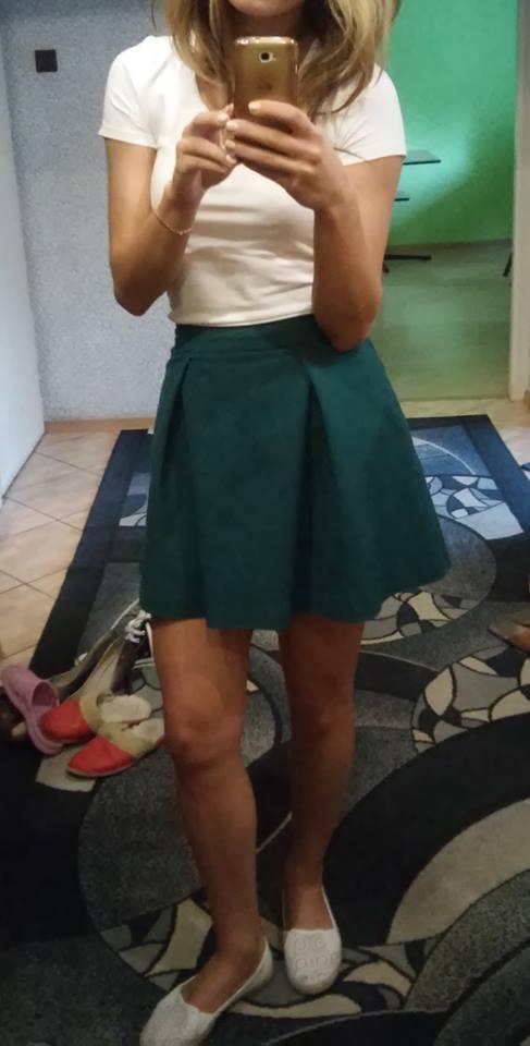 Spódnice Spódnica spódniczka zielona rozkloszowana mohito butelkowa zieleń