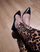 Buty na niskiej koturnie koturny szpic wężowe Reserved...