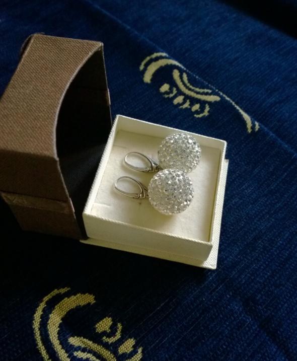 Duże srebrne 925 wiszące kolczyki kule 2cm Swarovski shamballa