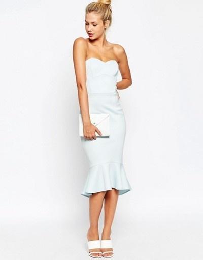 Asymetryczna sukienka ołówkowa ASOS baby blue 36 S falbana pian...