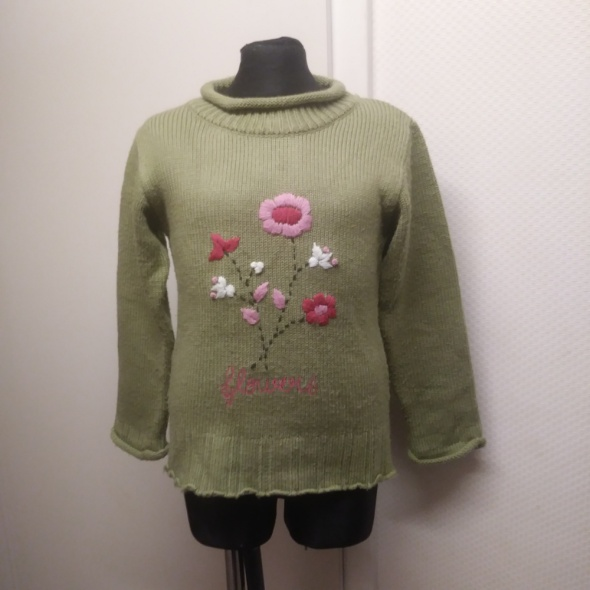 sweter 116 122 khaki w kwiaty
