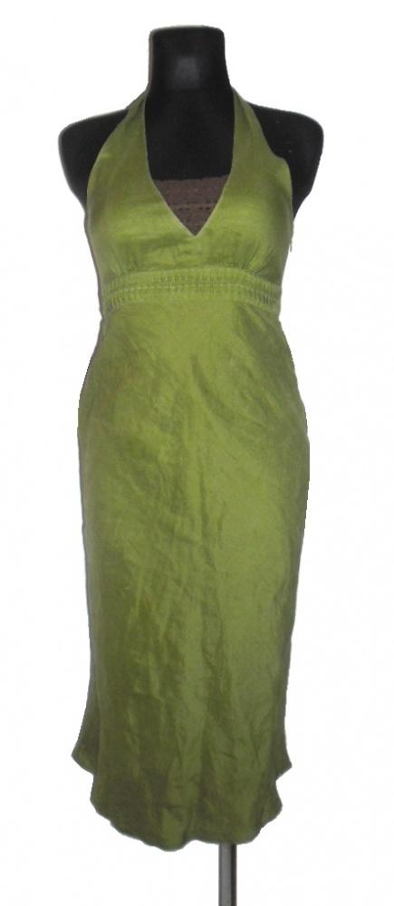 ZARA zielona lniana sukienka z koronką r 36