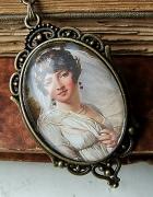 naszyjnik medalion wisior vintage Carolina Bonaparte kamienie ametyst